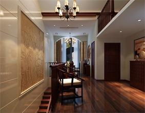 中式休闲区楼梯效果图