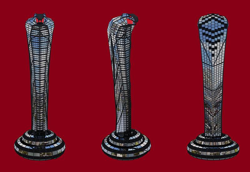 亚洲眼镜蛇大厦360°建筑渲染图