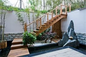 中式花园楼梯效果图